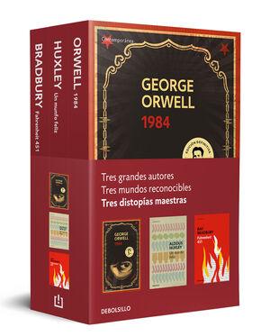 TRES DISTOPÍAS MAESTRAS (PACK QUE INCLUYE: 1984, FAHRENHEIT 451 Y UN MUNDO FELIZ)
