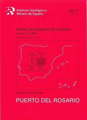 PUERTO ROSARIO.FUERTEVENTURA. MAPA GEOLOGICO ESPAÑA 1092 III. 93-78