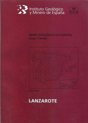 ISLA DE LANZAROTE.MAPA GEOLOGICO. 88/12-9/10 E 1:100.000