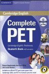 011 COMPLETE PET STUDENT'S BOOK WITH ANSWERS -CAMBRIDGE ENGLISH..