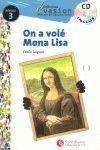 ON A VOLE MONA LISA + CD .NIVEAU 3 -COLLECTION EVASION